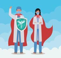 homens e mulheres médicos heróis com capas e escudo contra o design de vetor de vírus ncov 2019
