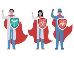 mulheres e homens médicos heróis com capas e escudos contra o design de vetor de vírus ncov 2019