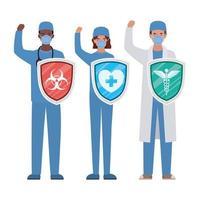 mulheres e homens médicos heróis com escudos contra o design de vetor de vírus ncov 2019