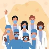 médicos e mulheres com máscaras contra design de vetor de vírus ncov 2019