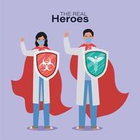 homens e mulheres médicos heróis com capas e escudos contra o design de vetor de vírus ncov 2019