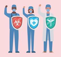 Homens e mulheres médicos heróis com escudos contra o design de vetor de vírus ncov 2019