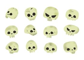 Vetor de crânios de halloween assustador