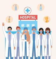 Homens e mulheres médicos com máscaras e produtos de higiene contra o design de vetor do vírus ncov 2019