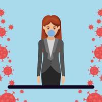 empresária com máscara contra desenho vetorial de vírus ncov 2019