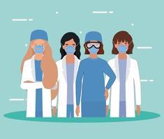 mulheres médicas com máscaras contra desenho vetorial de vírus ncov 2019 vetor