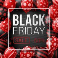 cartaz de venda sexta-feira negra com balões brilhantes em fundo preto com moldura quadrada de vidro. ilustração vetorial.