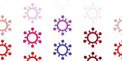 padrão de vetor azul claro e vermelho com elementos de coronavírus.