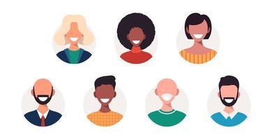 conjunto de avatares de pessoas felizes de diferentes raças e idades. retratos de homens e mulheres. ilustração vetorial no estilo cartoon. vetor