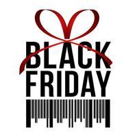 venda de sexta-feira negra, banner quadrado em forma de presente de Natal com fita vermelha, arco e código de barras, fundo branco. folheto ou modelo de banner.
