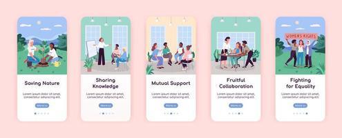 mulheres na sociedade integrando modelo de vetor plano de tela de aplicativo móvel