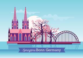 Rua com Cherry Blossom na Cidade Velha de Bonn no Spring Bright Day vetor