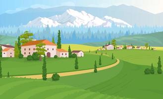 ilustração em vetor cor plana paisagem de habitação rural