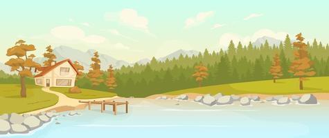 residência em outono floresta ilustração vetorial de cor lisa vetor
