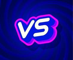 vs modelo de efeito de texto azul e rosa com estilo de tipo 3d e conceito retro redemoinho ilustração vetorial de fundo azul.