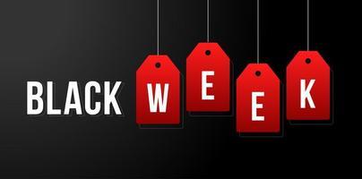 ilustração em vetor semana negra. Venda de semana preta etiquetas brancas anunciando em ilustração vetorial de fundo preto