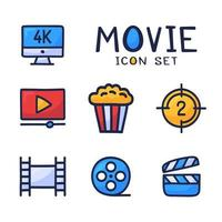 conjunto simples de ícones de contorno de desenho animado de vetor relacionados ao cinema. contém ícones como filme 4k, pipoca, videoclipe e muito mais. mão desenhar ilustração vetorial
