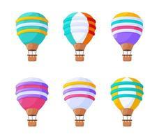 Conjunto de ilustrações vetoriais plana de balões de ar quente. veículos aéreos vintage coloridos para voos isolados no fundo branco. balões de céu ornamentados, dirigíveis com coleção de elementos de design de cestas.