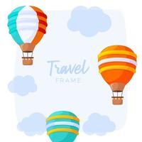 quadro de viagens de balão de ar quente listrado com nuvens e um céu azul o fundo. ícone de ilustração vetorial, cartaz, modelo de design de cartão de felicitações. vetor