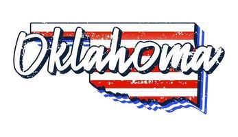 bandeira americana no mapa do estado de oklahoma. estilo grunge vector com tipografia desenhada à mão lettering oklahoma no mapa em forma de grunge vintage bandeira nacional americana isolada no fundo branco