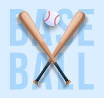 conceito realista de beisebol com taco de beisebol cruzado, bola e texto. ilustração de esporte vetorial vetor