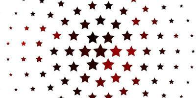 textura vector vermelho claro com belas estrelas.