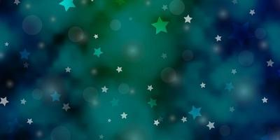 fundo vector azul, verde claro com círculos, estrelas.