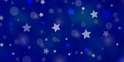 layout de vetor de azul claro com círculos, estrelas.