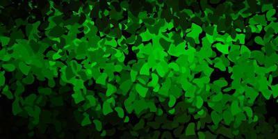 pano de fundo vector verde escuro com formas caóticas.