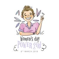 Cute Girl Smiling With Leaves Flying To Women's Day vetor