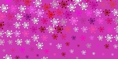 textura de vetor rosa claro com símbolos de doenças