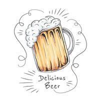 Copo de cerveja saboroso com ornamentos vetor