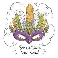 Máscara Brasileira Ao Carnaval Brasileiro vetor