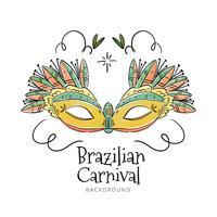 Linda máscara brasileira para o carnaval vetor