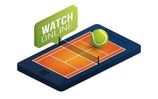 quadra de saibro de tênis na tela do telefone conceito on-line ilustração vetorial plana isométrica. conceito de vetor isométrica plana de tênis online.
