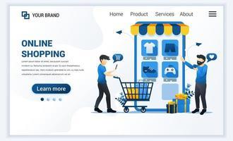 ilustração do vetor do conceito de compras online. jovens comprando produtos na loja de aplicativos online. moderno design de modelo de página de destino de web plana para site e site para celular. estilo cartoon plana