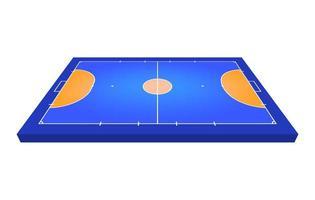 campo de visão em perspectiva para futsal. contorno laranja de ilustração em vetor linhas campo de futsal.
