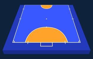 vista em perspectiva meio campo para futsal. contorno laranja de ilustração em vetor linhas campo de futsal.