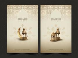 conjunto de modelo de design de cartão islâmico saudações eid mubarak vetor