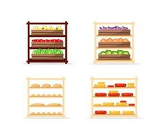 venda de conjunto de objetos vetoriais planos de alimentos vetor