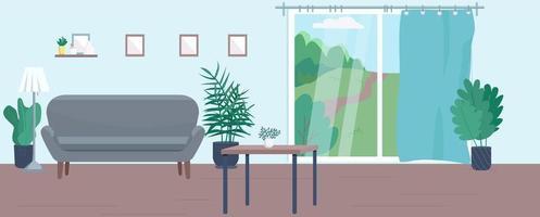 ilustração plana da sala de estar vazia
