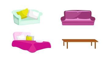 móveis de quarto e sala de estar vetor