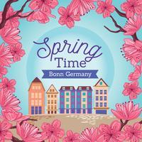 Flor de cerejeira na cidade velha de Bona no Spring Bright Day vetor