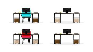 conjunto de objetos planos para mesa de computador vetor