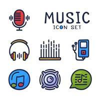 mão desenhada cartoon conjunto de ícones de linha de vetor relacionados a áudio de música. contém ícones como nota, disco, microfone e muito mais.