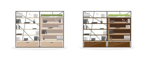 conjunto de objetos planos de estantes de escritório vetor