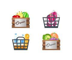 conjunto de objetos planos de cestas de alimentos vetor