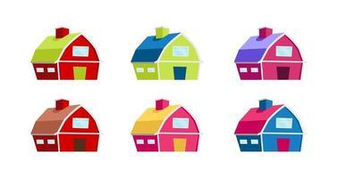 conjunto de objetos de vetor de casas coloridas