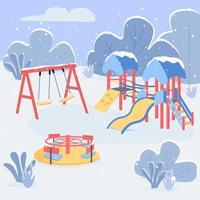 ilustração vetorial de cor plana de área de recreação de inverno vetor