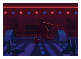 ilustração em vetor cor lisa pista de boliche